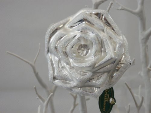 Large Silver Glass Rose - Clip on